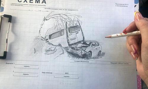 Вместо схем ДТП - уникальная графика карандашом